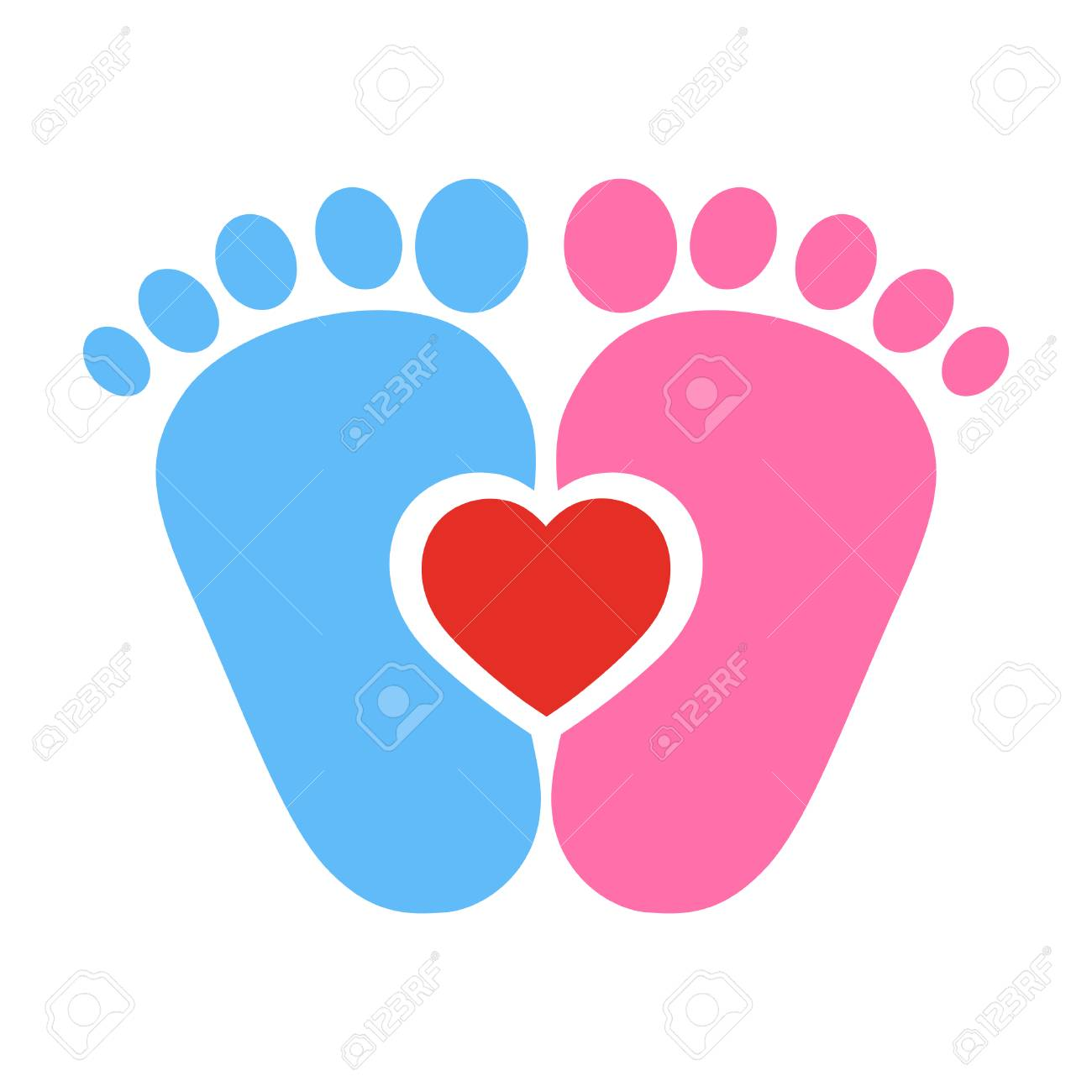 Blue And Pink Baby Footprints With Red Heart On White Background