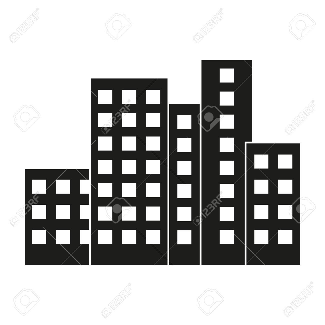 City Modern Flat Buildings On White Backgroundoffice Buildings