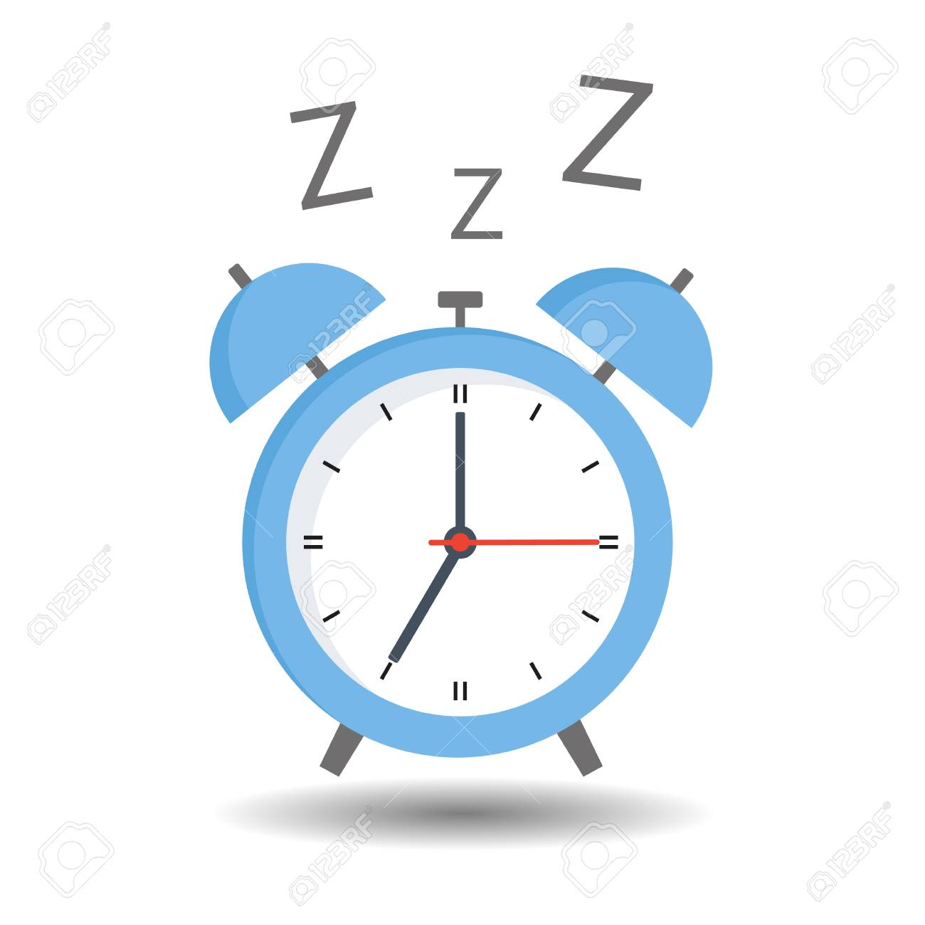 Blue Alarm Clock On White Background With Shadow Royalty Free Cliparts Vectors And Stock Illustration Image 101051305