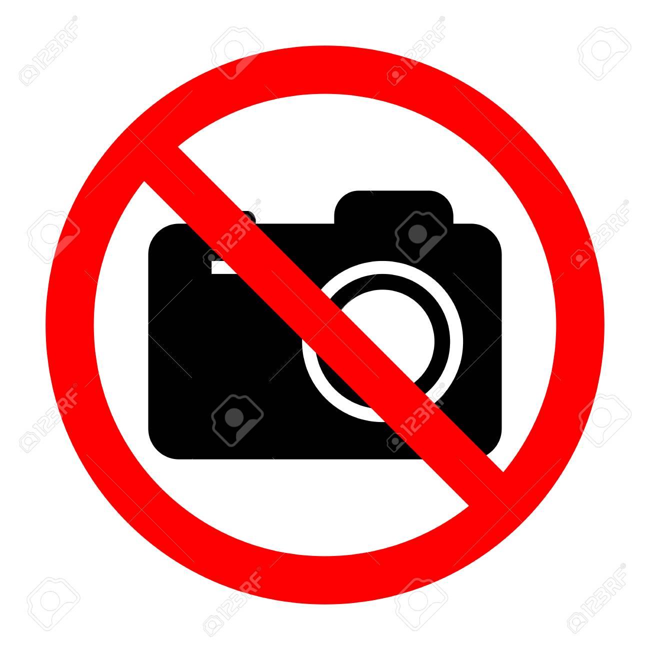 sign prohibited camera on white background - 105342371