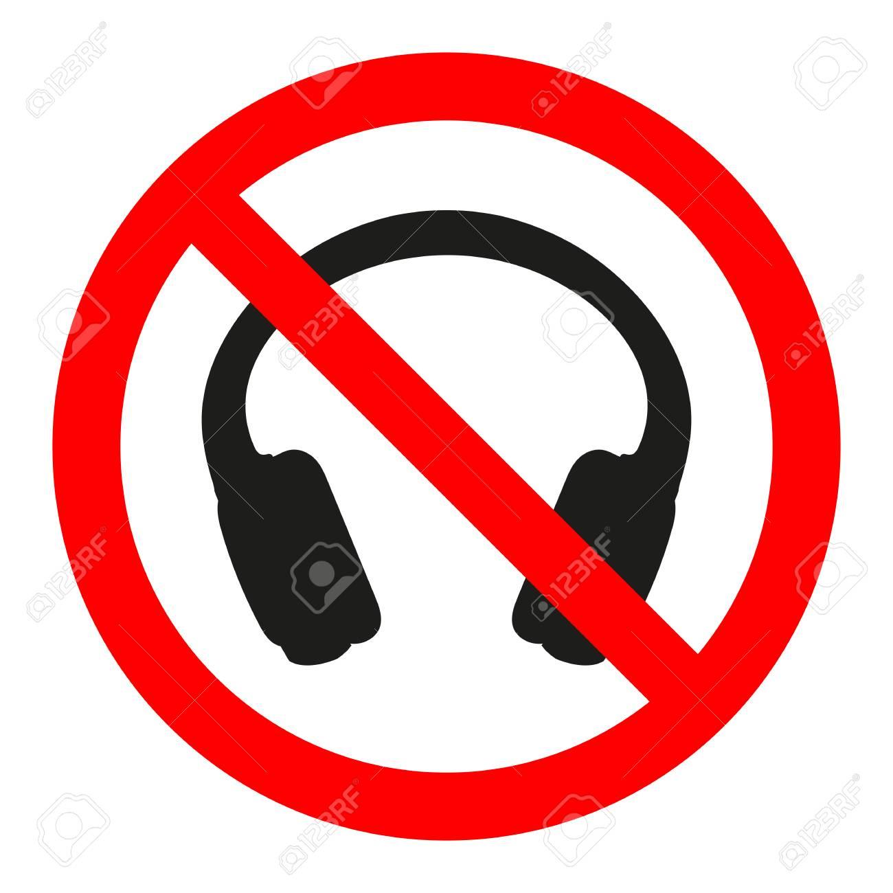 sign prohibited headphones on white background - 105255207