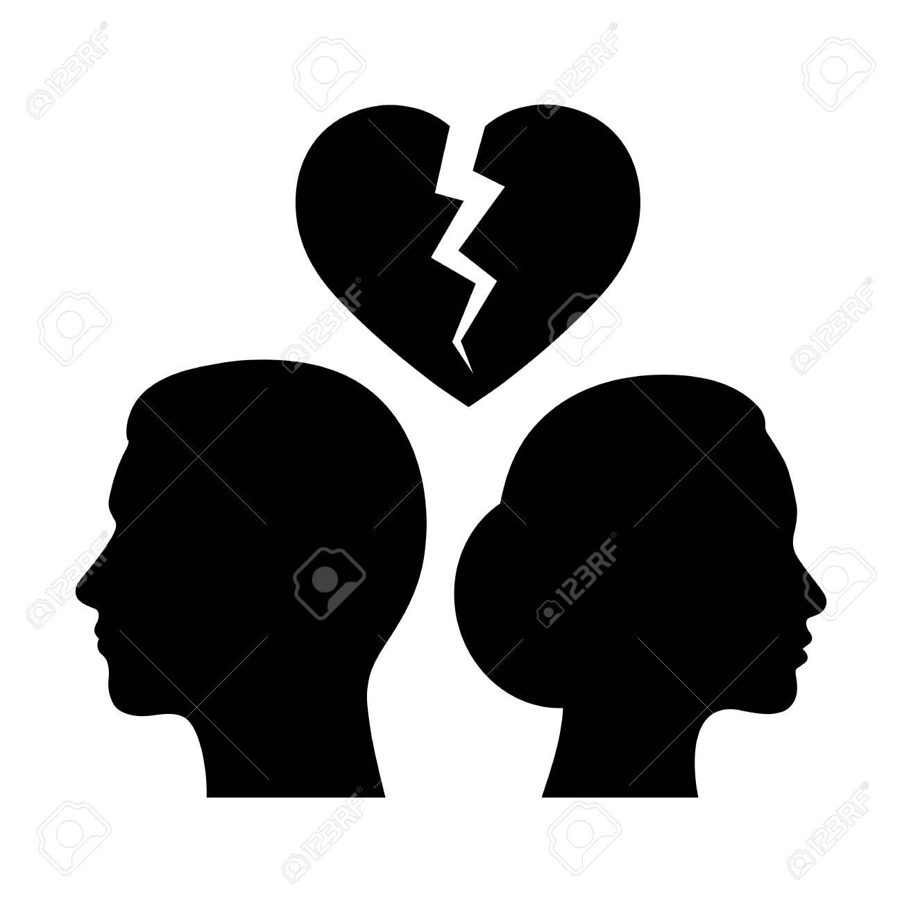 Woman and man on a background of broken heart. - 128630293