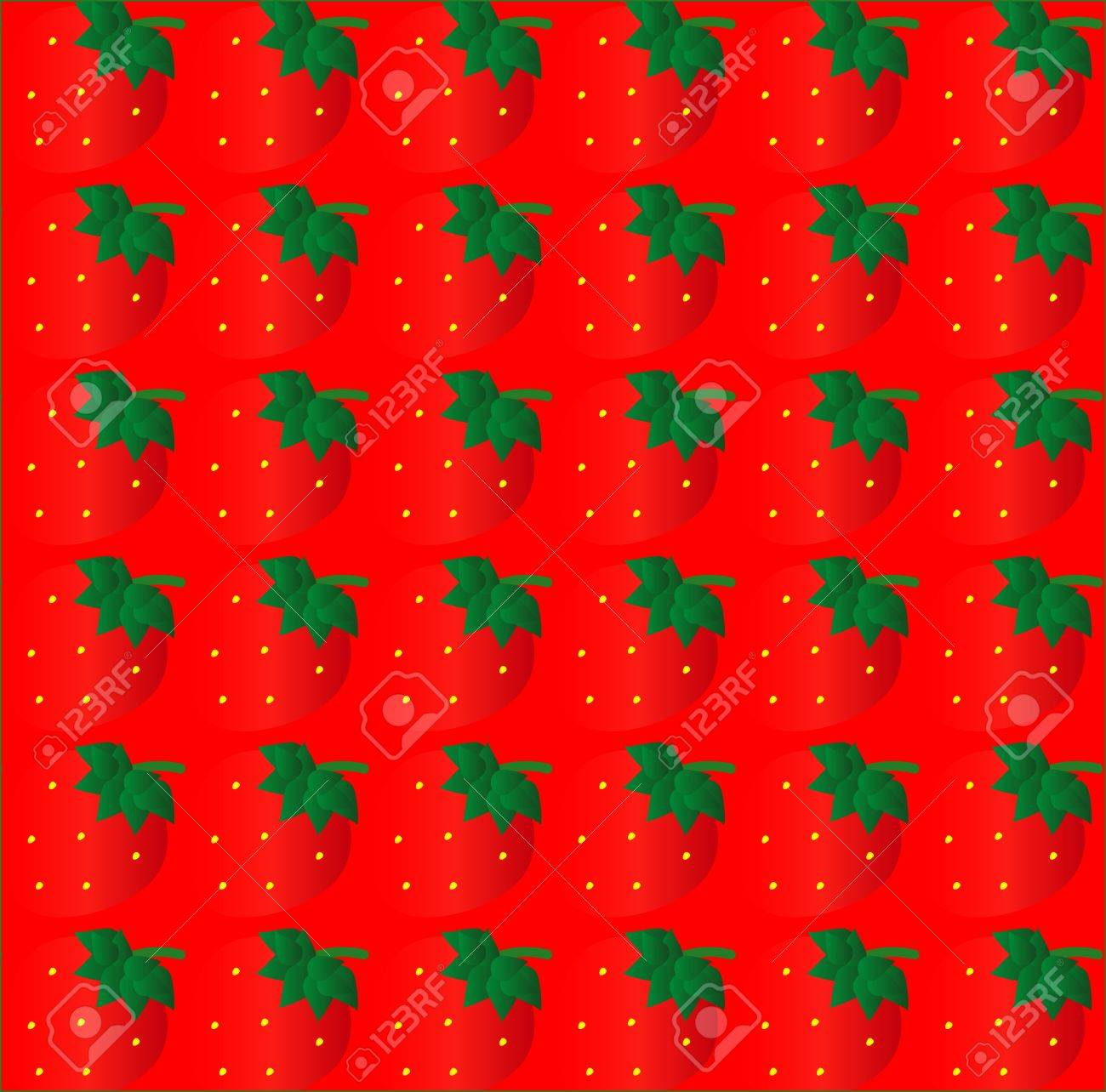 strawberry seamless texture on red background Stock Vector - 9479616