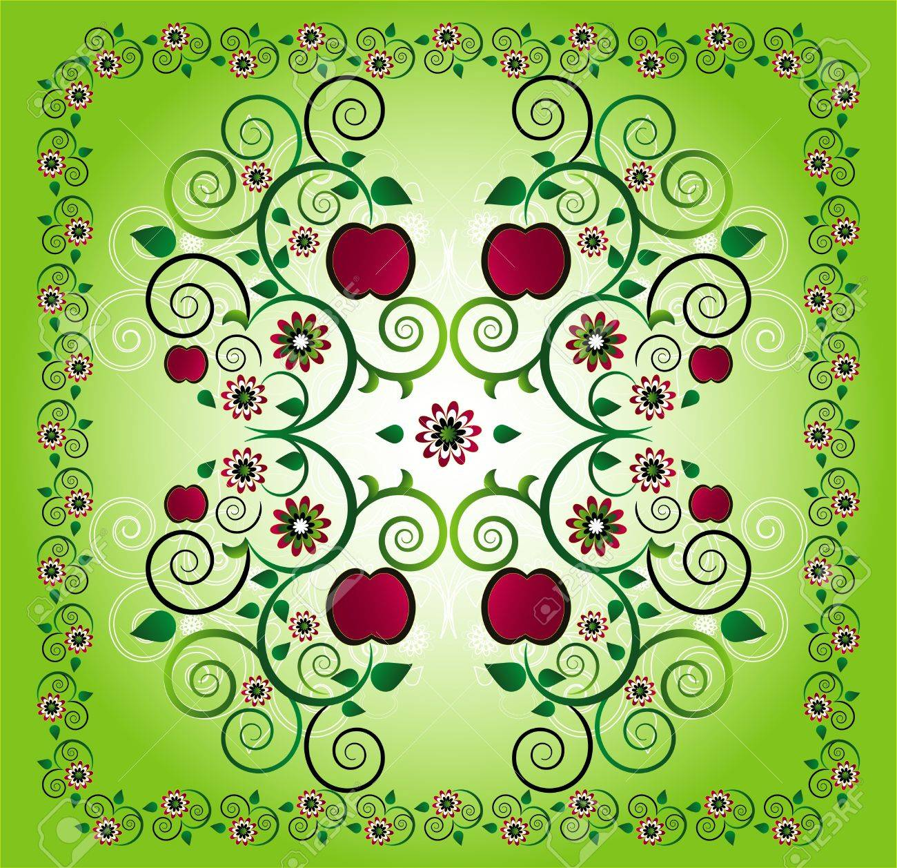 pattern with apple and flower Stock Vector - 9843186