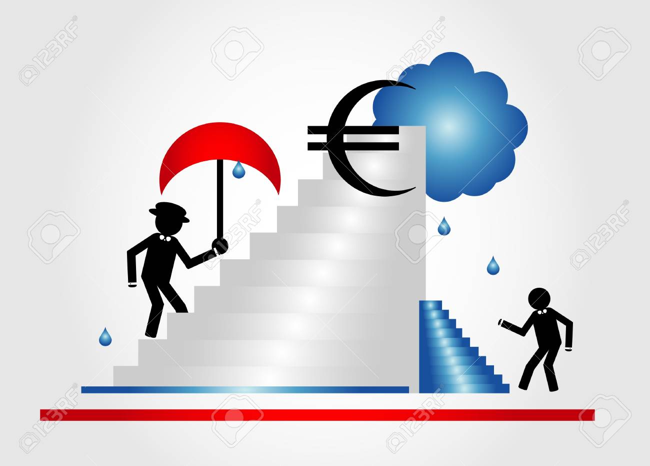 person on mountain with parasol with Euro sign and blue clouds Stock Vector - 9921339