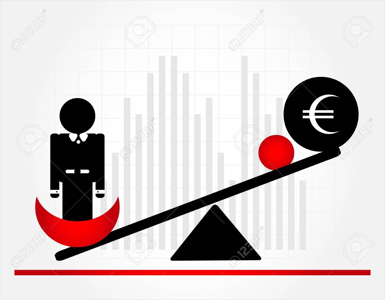 man on scales with money Stock Vector - 9921341