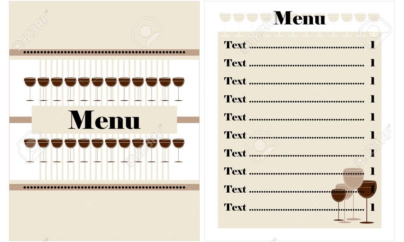 restaurant menu design with glass of wine Stock Vector - 12497228