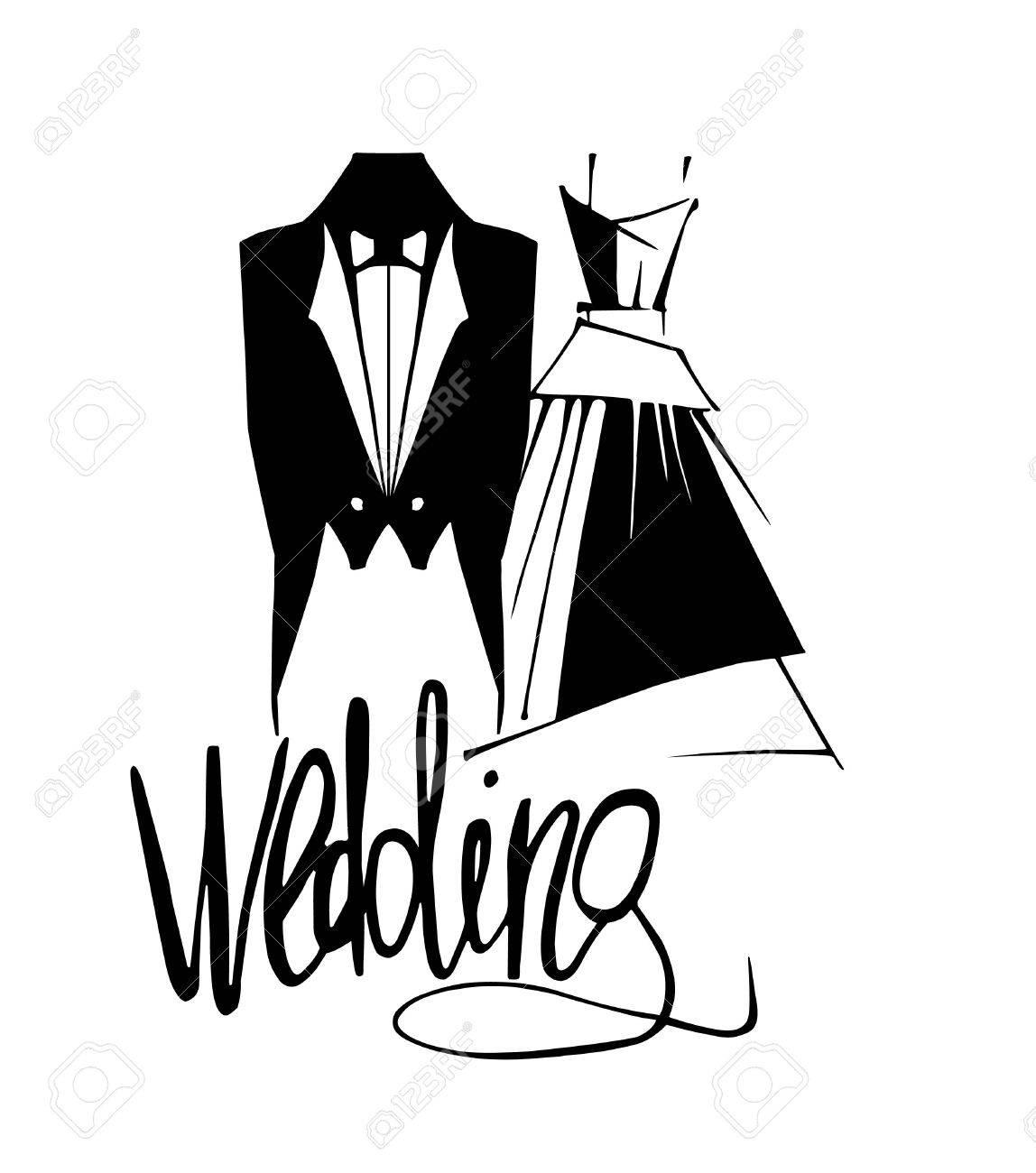 結婚式の新郎新婦の衣装ベクトル イラストですのイラスト素材