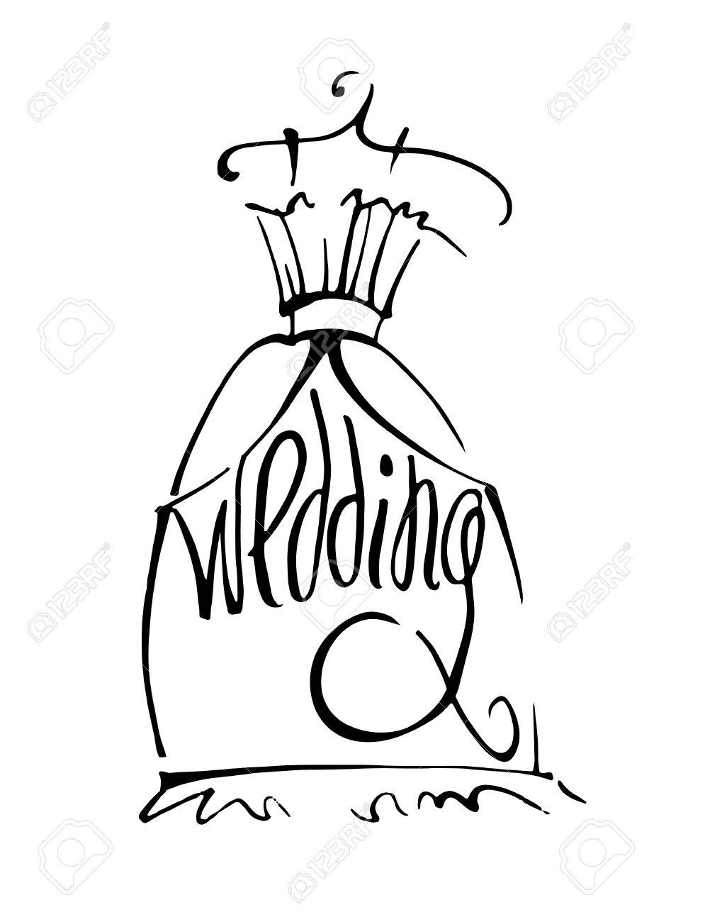Watch - Dress wedding on hanger drawing photo video