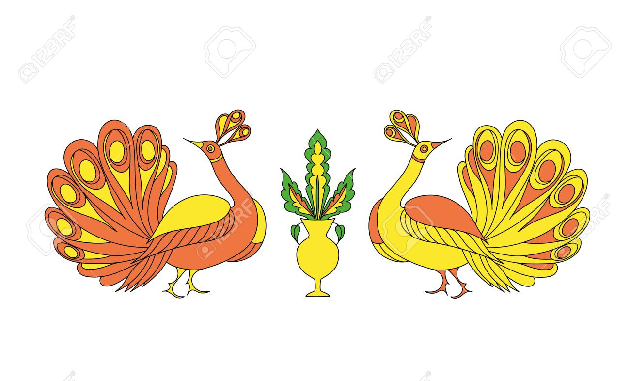 Dibujado A Mano Ornamental Pavo Real. Ilustración Del Vector ...