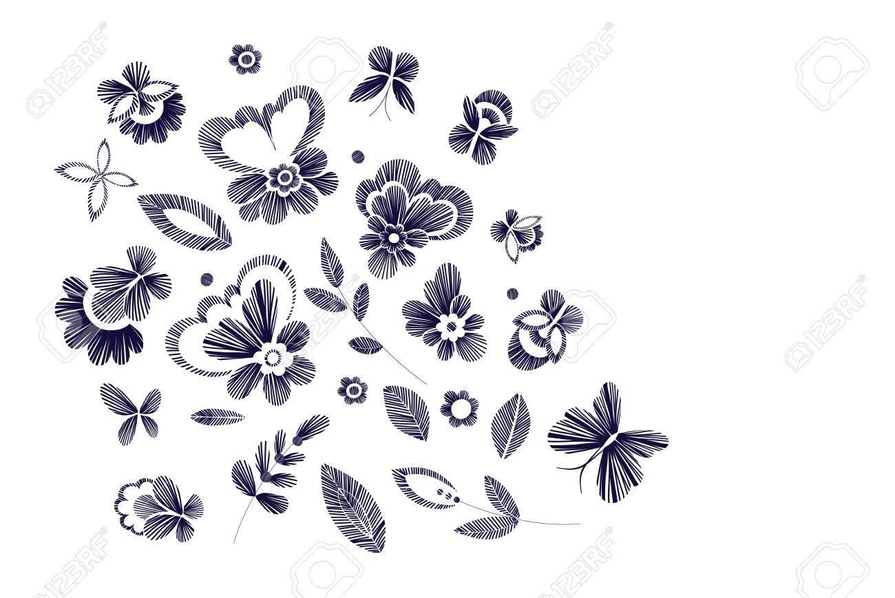 Conjunto De Patrón Floral Con Flores De Fantasía Aisladas. Arte ...