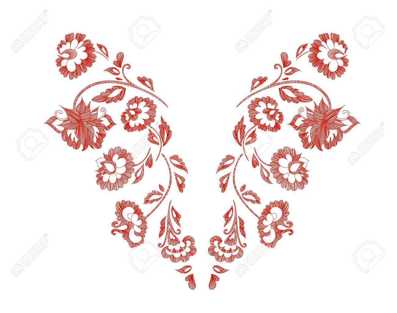 花柄、首ラインを設計します。ベクトル イラスト手描き。ファンタジーの