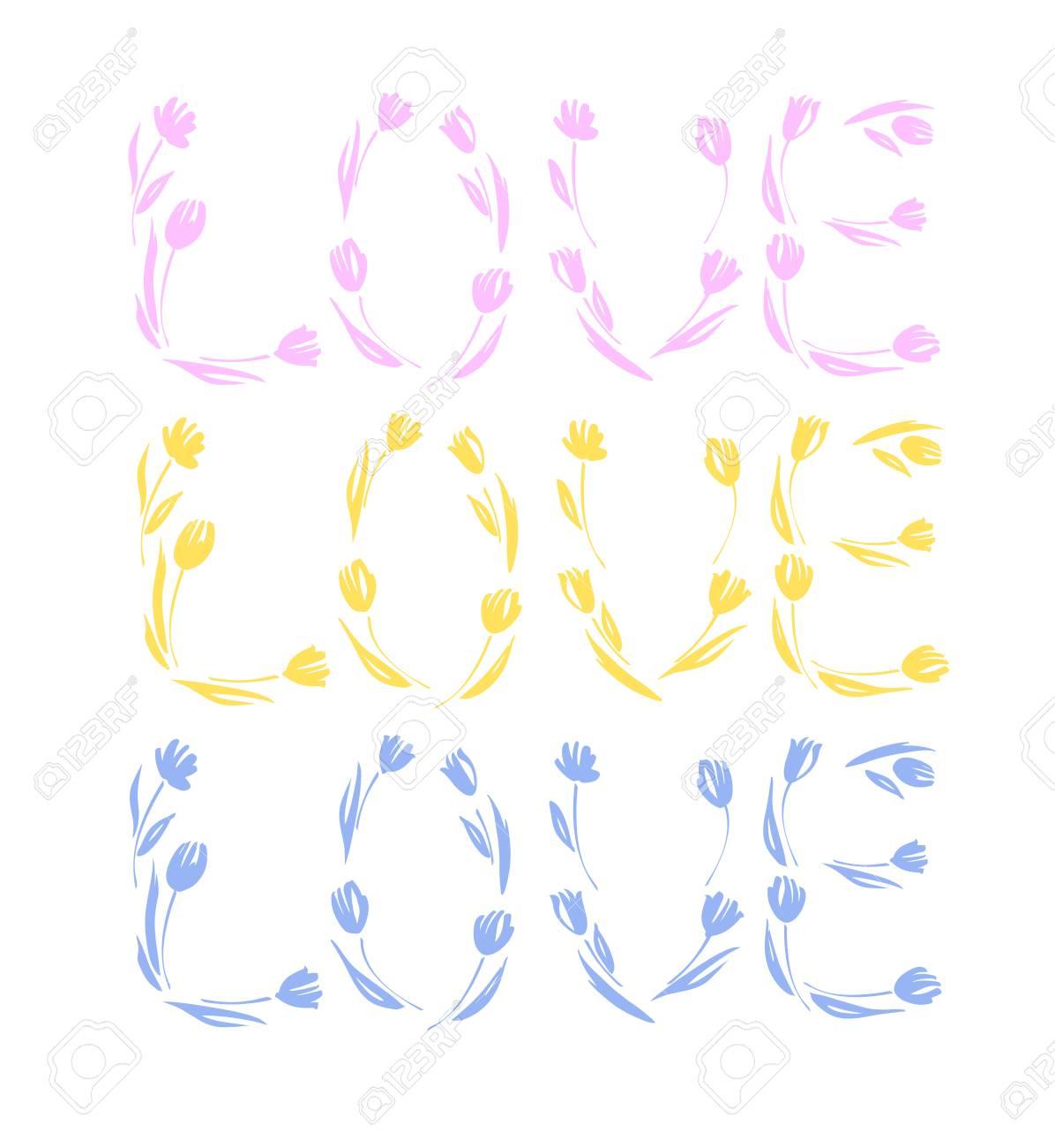 Banque d\u0027images , Le jour de Valentine heureux, mariage, amour carte de  voeux. Aimez,vous le lettrage avec dessiné tulipes main.