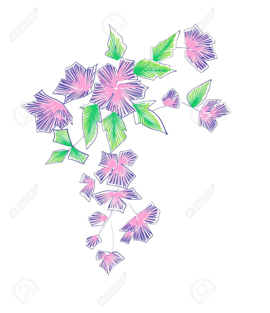 Patrón Floral Con Flores De Fantasía Aislado En Blanco. Arte Lineal ...