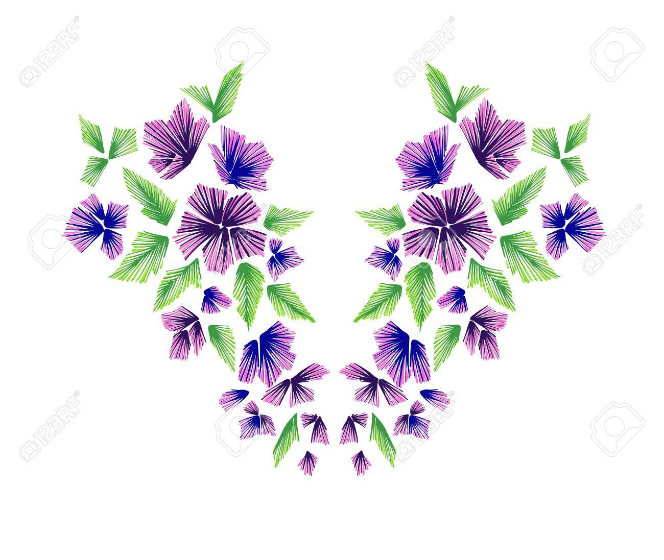 Teste Padrao Floral Desenhos De Linha Pescoco Vector A