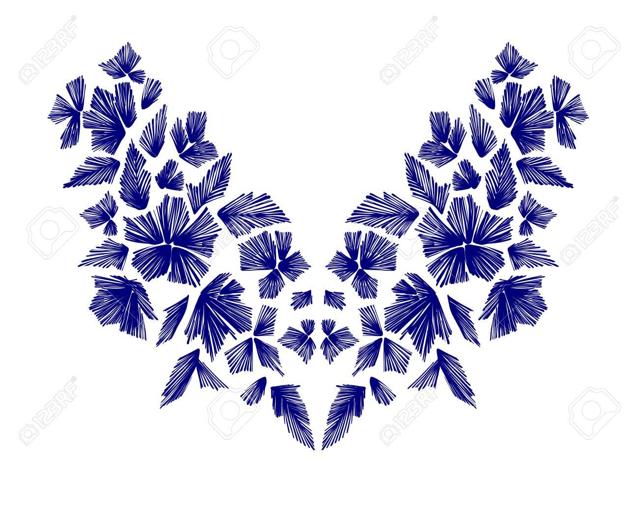 Estampado De Flores, Diseños De La Línea Del Cuello. Ejemplo ...
