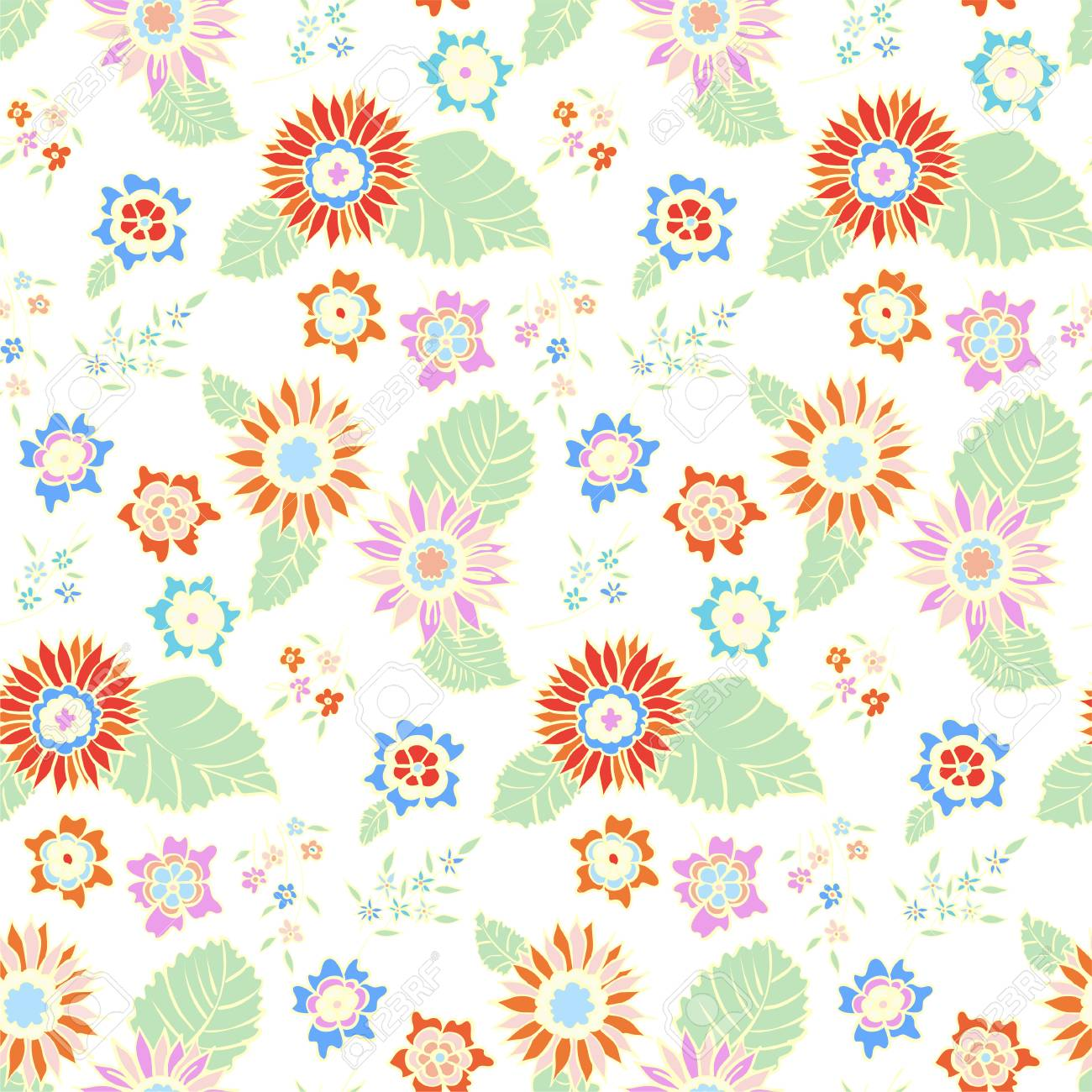 花のシームレスな背景パターン春 夏のシーズン ベクトル繊維 包装紙 壁紙 イラスト Urtains のイラスト素材 ベクタ Image