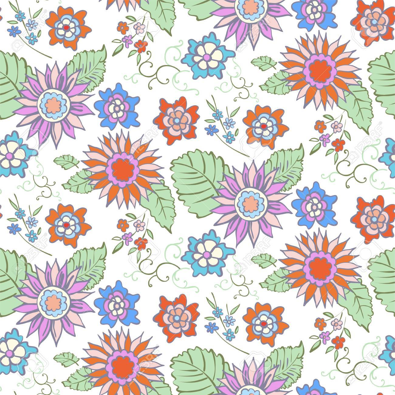 花のシームレスな背景パターン春 夏のシーズン ベクトル繊維 包装