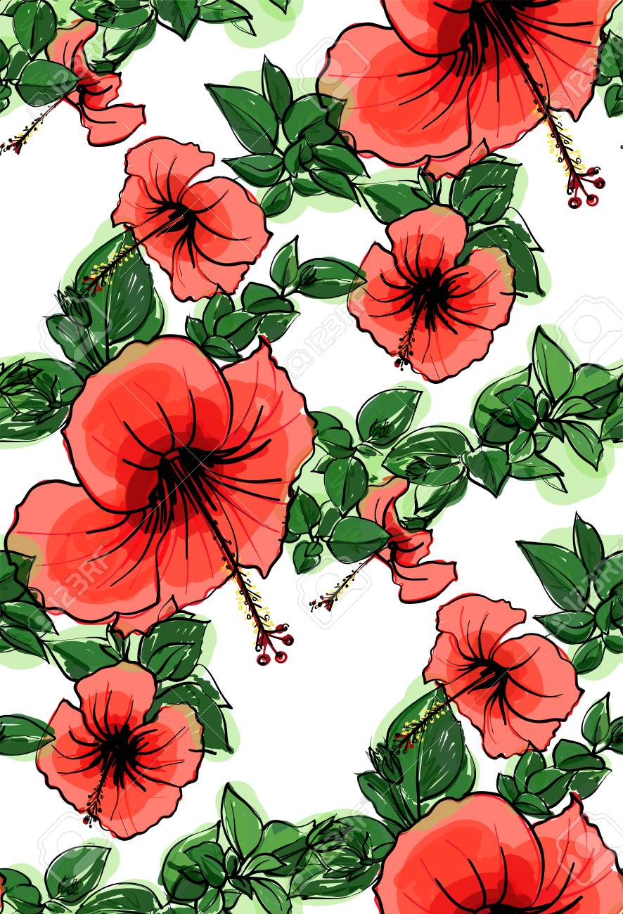 Floral seamless background pattern spring summer season hibiscus floral seamless background pattern spring summer season hibiscus flowers hand drawnctor illustration izmirmasajfo