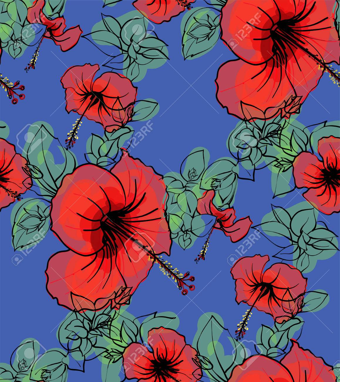 Floral seamless background pattern spring summer season floral seamless background pattern spring summer season hibiscus flowers hand drawnctor illustration dhlflorist Image collections