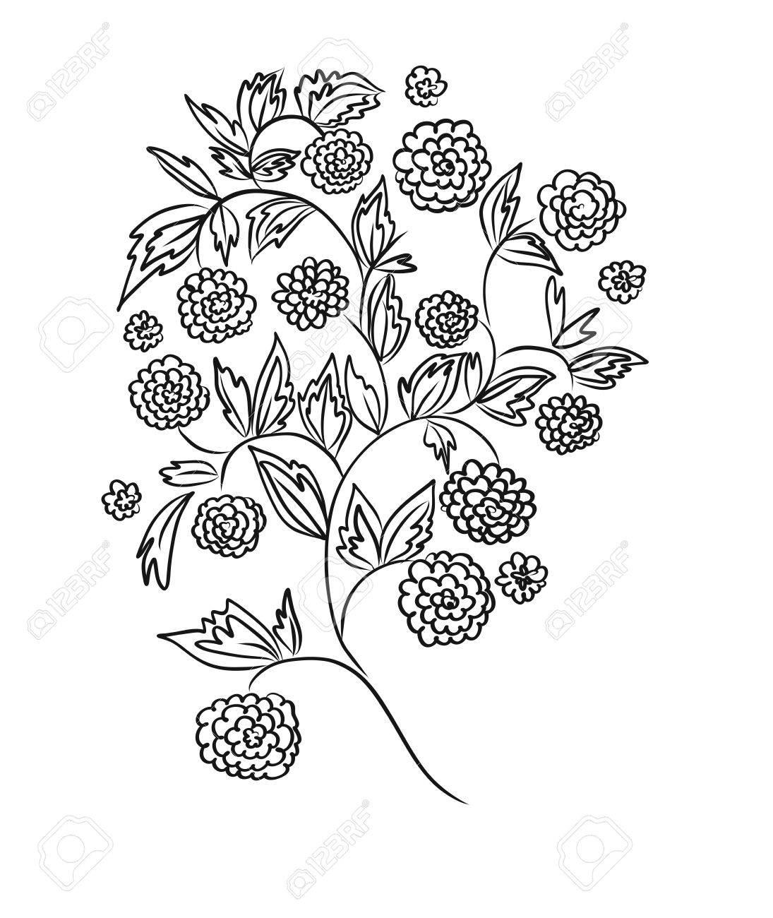 Diseño Floral, Patrón De Bordado. Blanco Y Negro Ilustración ...