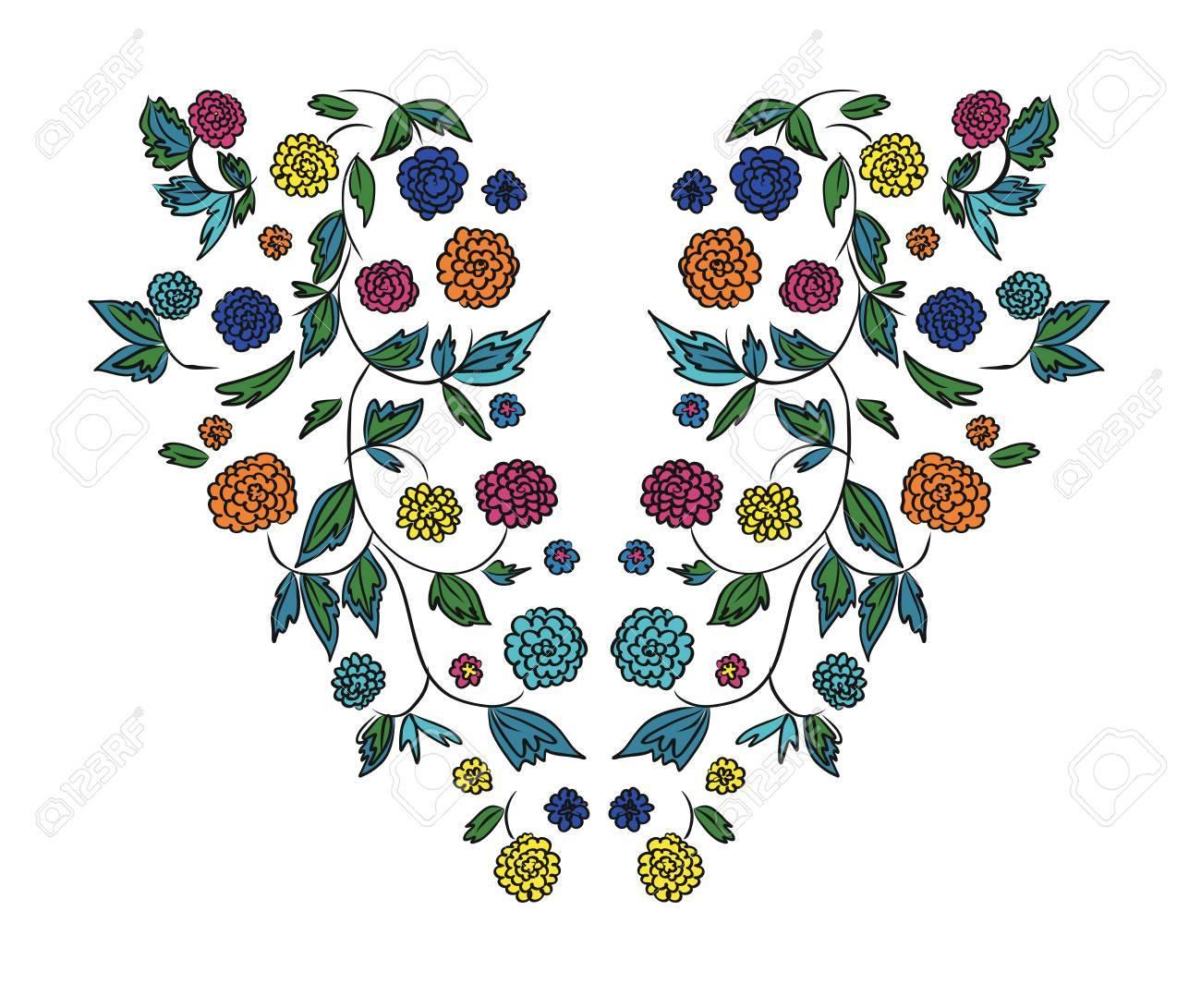 Diseño Floral, Patrón De Bordado. Dibujado A Mano Ilustración ...