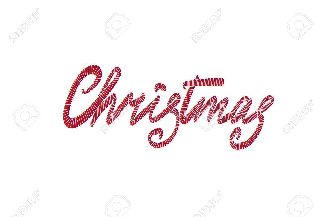 Feliz Navidad Letras Dibujado A Mano. Tarjeta De Felicitación De ...