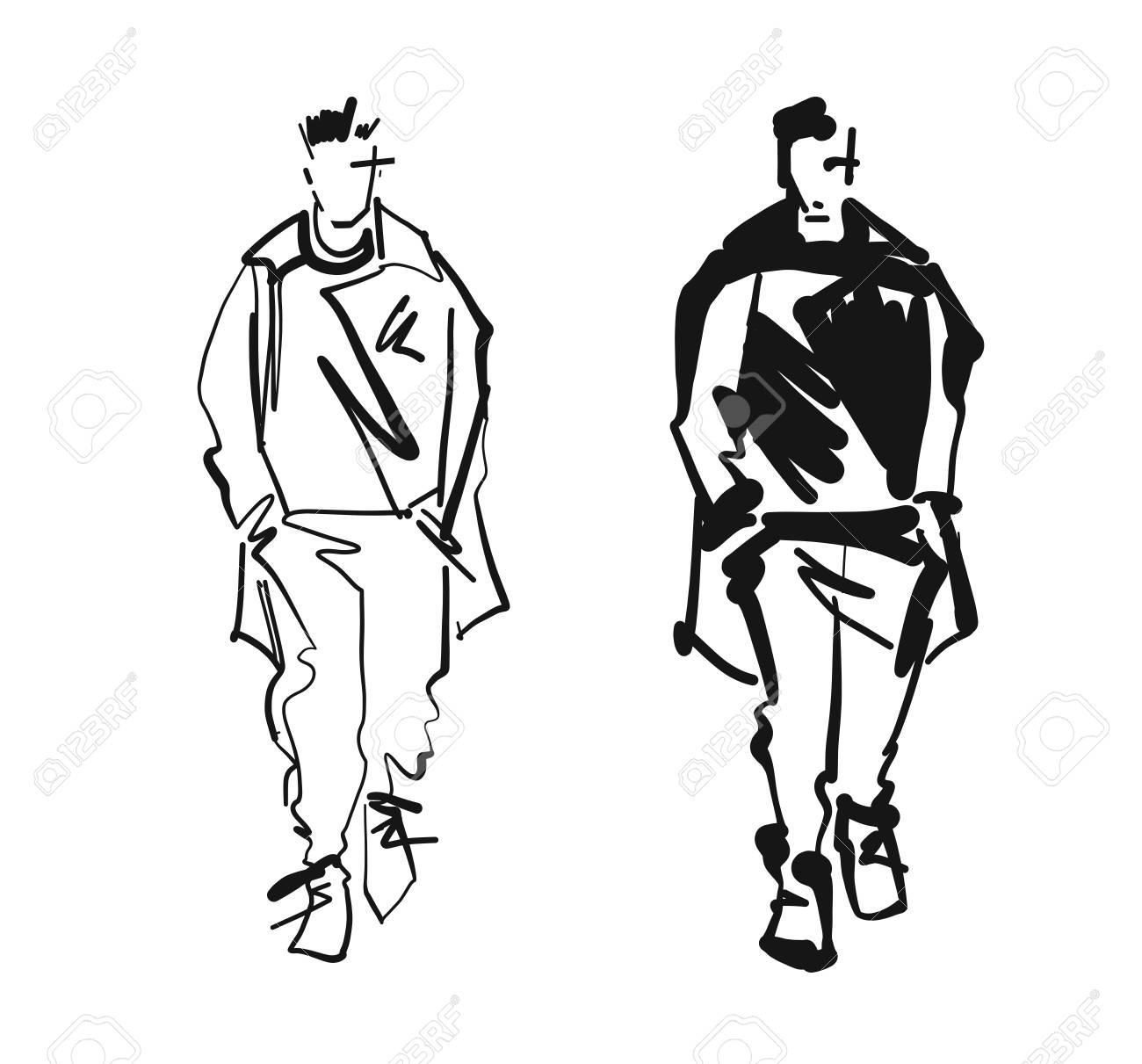 fashion man model silhouettes hand drawn monochrome vector