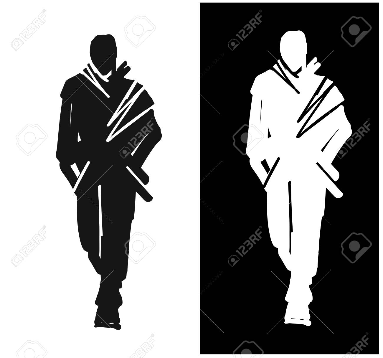 fashion man model silhouettes hand drawn male fashion illustration