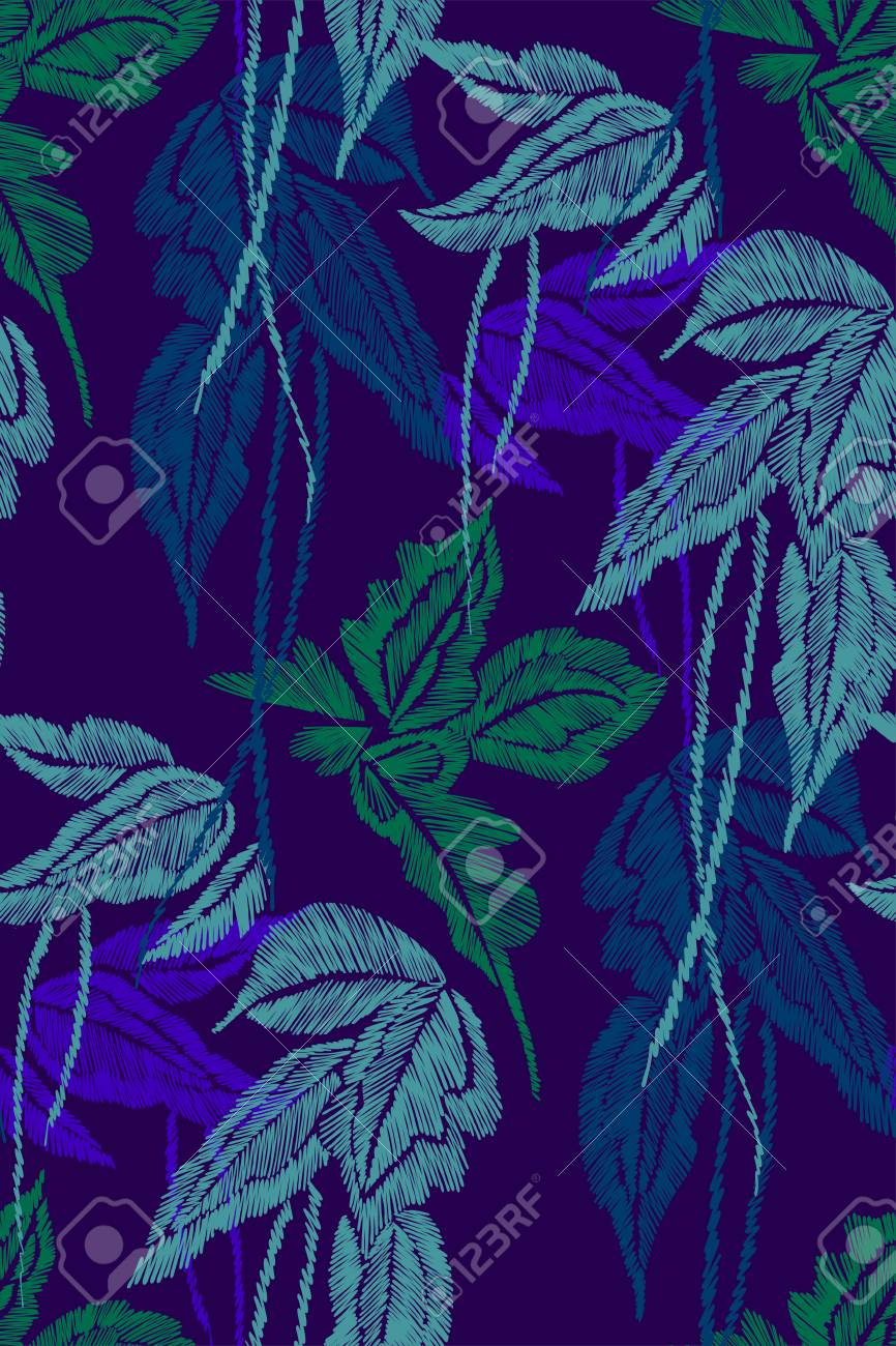 Tropical Leaves Seamless Background Pattern Embroidery Design Royalty Free Cliparts Vectors And Stock Illustration Image 96618353 Cute tropical palm trees embroidery seamless pattern. 123rf com