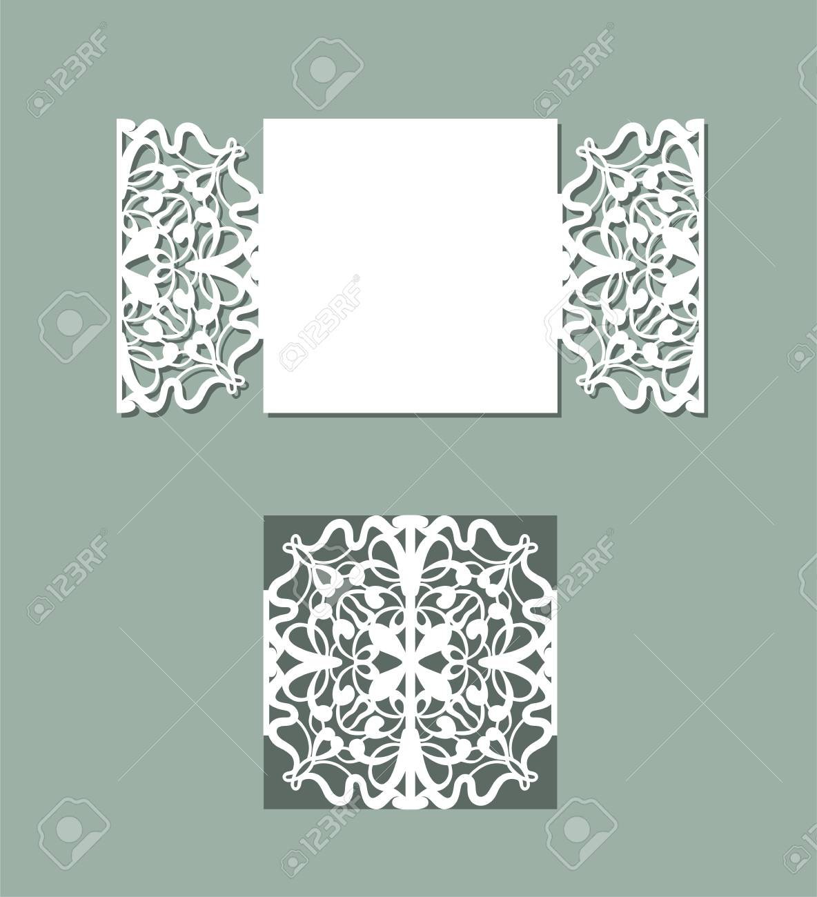 Laser cut panel design. Floral design wall decor. Vector template for cutting. Invitation card. - 125849168