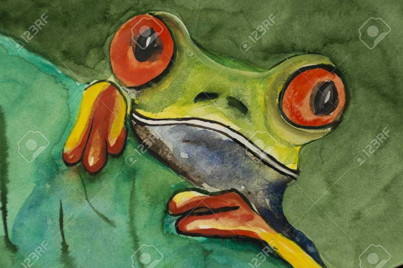 Grünen Tropischen Frosch Scheint Verschiedenen Farben Mit Roten ...