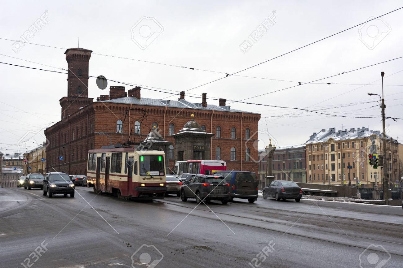 Old-Kalinkin Bridge Across The Fontanka River, Car Ride, Tram ...