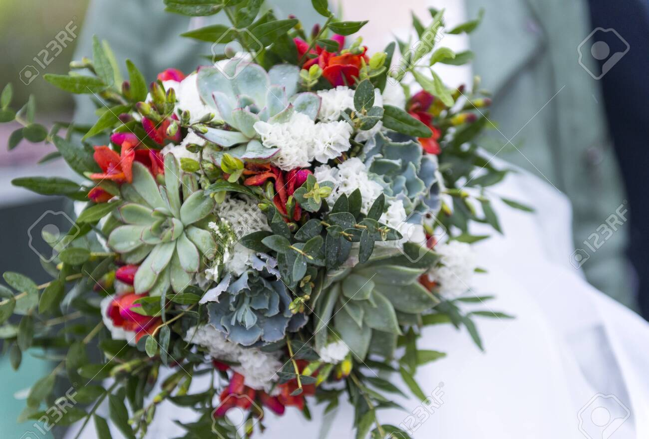 Green Bridal Bouquet With Succulents Bouquet Of Flowers Wedding Stock Photo Picture And Royalty Free Image Image 122781135