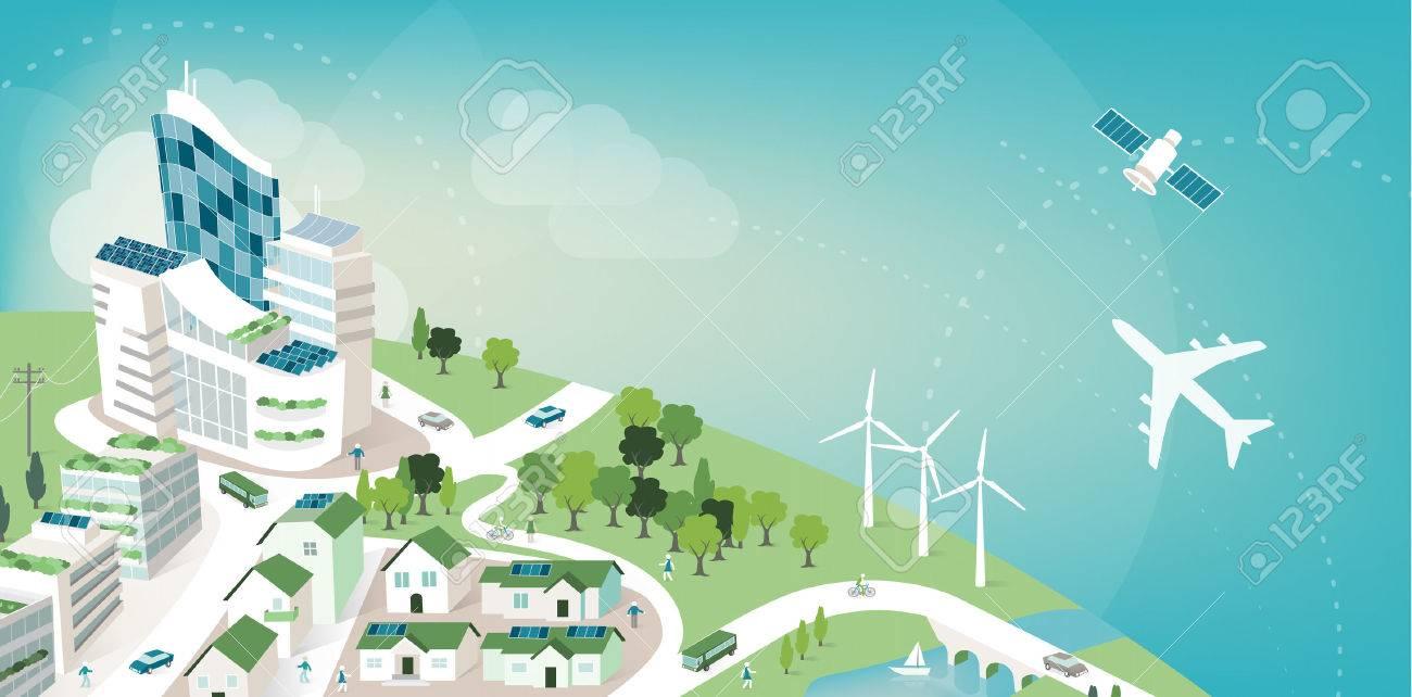 Bandiera Verde Città Sostenibile Con Il Pianeta Terra E Il Cielo La