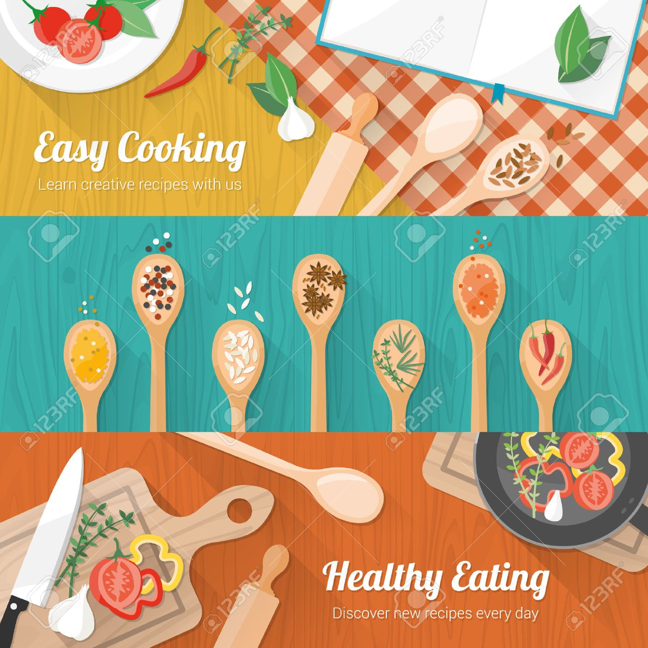 Food and cooking banner set with kitchenware utensils, spices and vegetables on wooden table worktop - 37571355