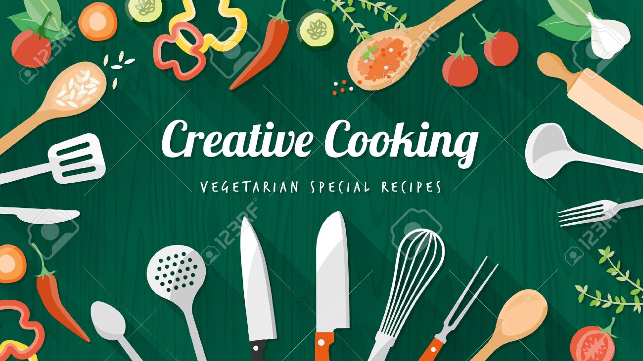Vegetarian And Vegan Food Recipes Banner With Kitchenware Utensils Royalty Free Cliparts Vectors And Stock Illustration Image 37571356