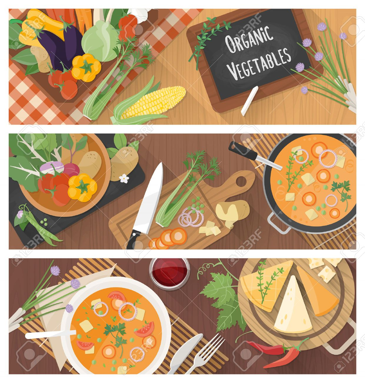 Cooking And Healthy Eating Banner Set With Tasty Soup Recipe Food Preparation At Home Standard