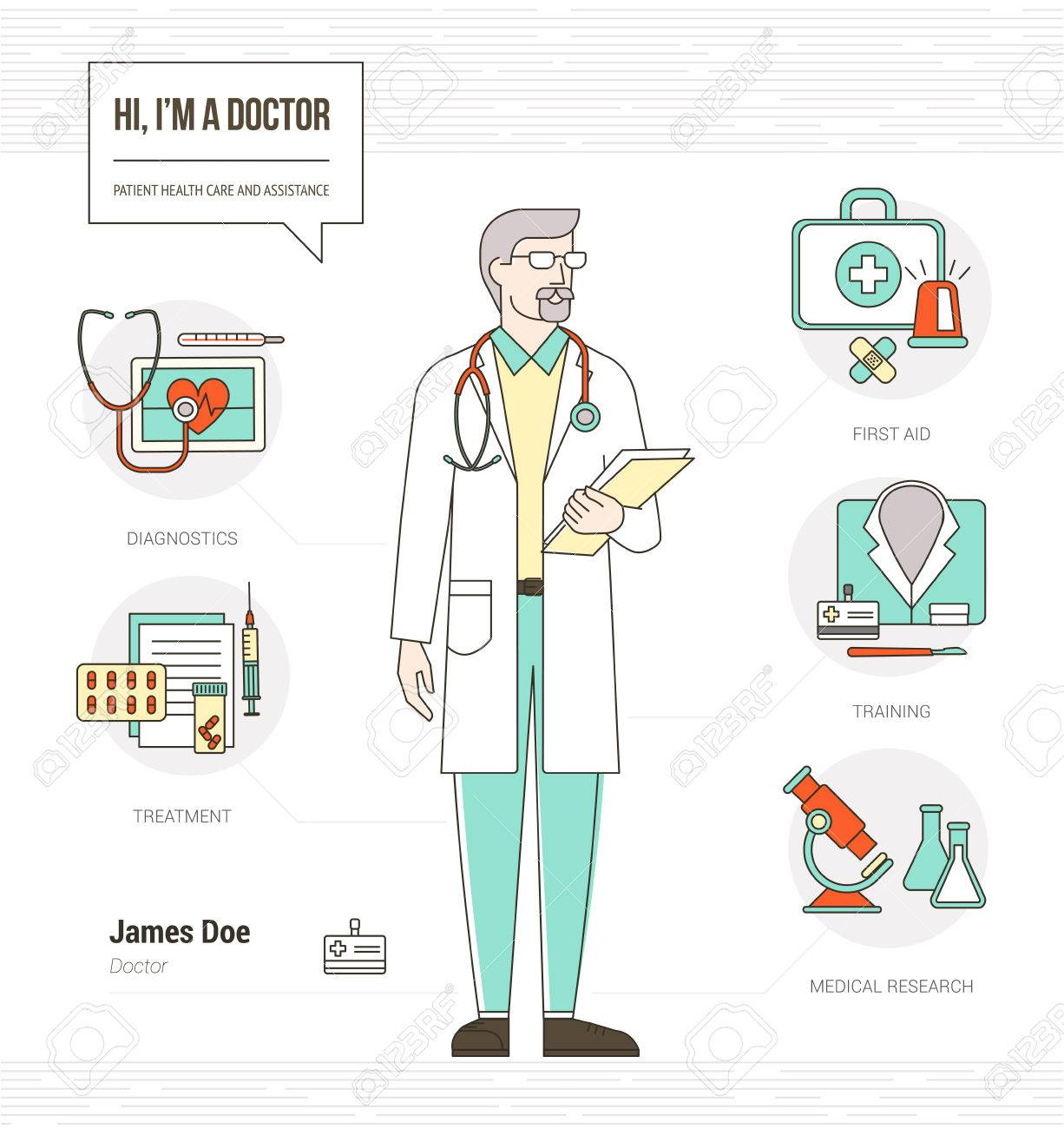 professional doctor infographic resume skills with tools medical equipment and icons set stock vector