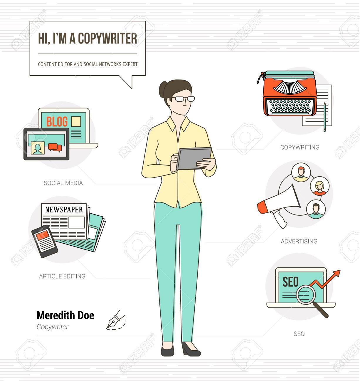 Professional copywriter infographic skills resume with icons