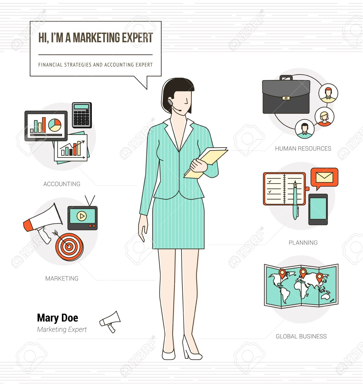 professional marketing expert infographic skills resume professional marketing expert infographic skills resume work tools equipment and icons stock vector