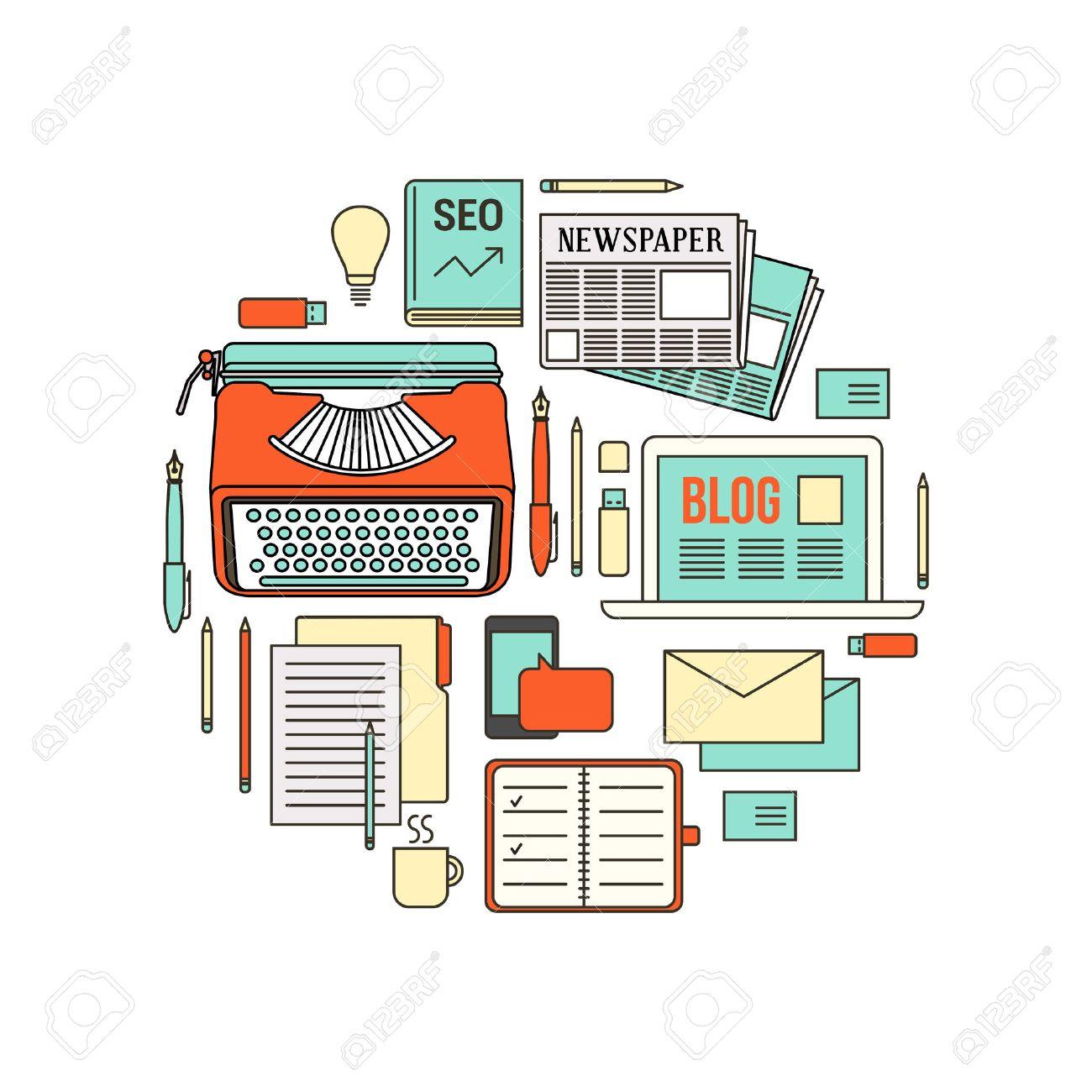 Copywriter, Blogger Y Periodista Herramientas De Trabajo, Línea Fina ...