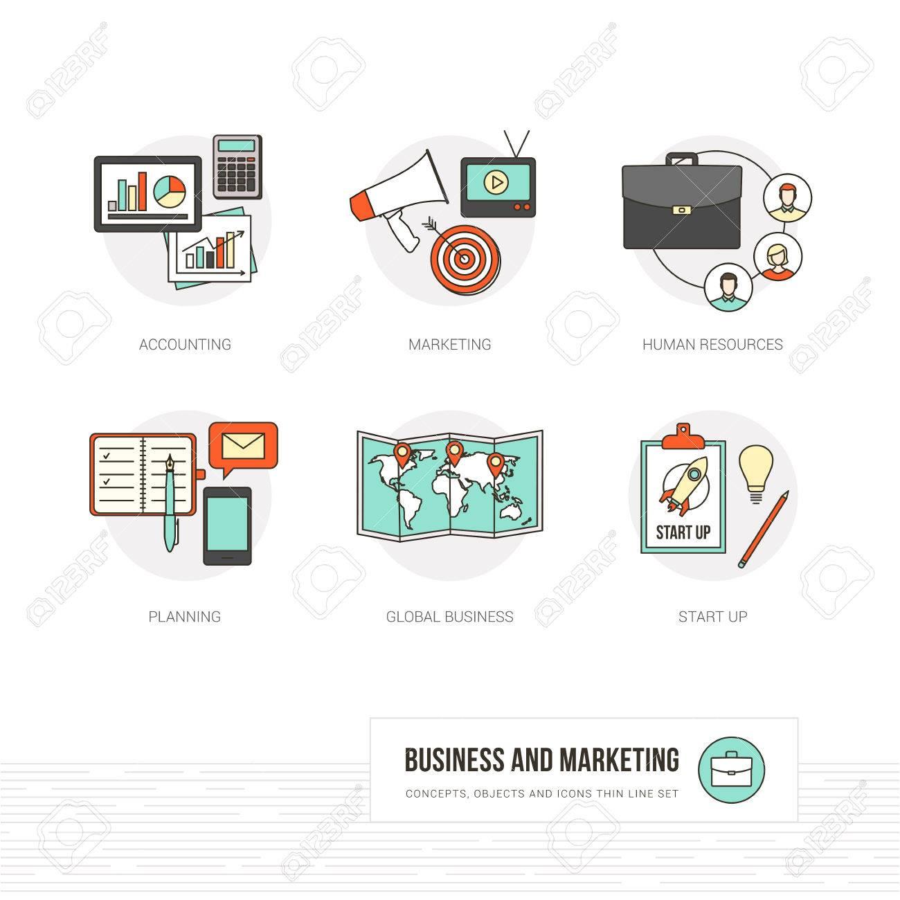 Comerciales, Marketing Y Publicidad Conceptos, Objetos De Línea ...