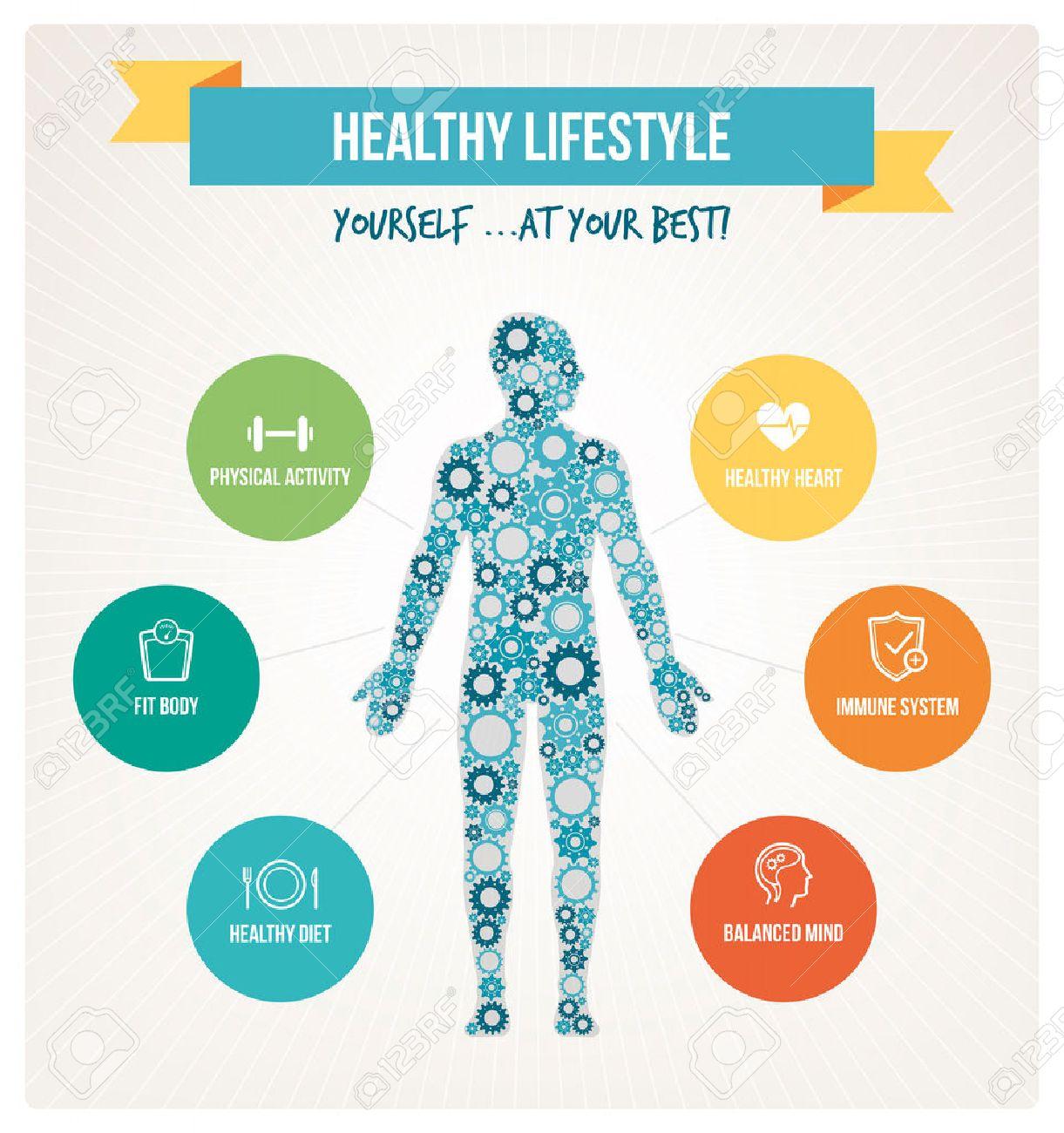 cuerpo y estilo de vida saludables concepto infografa con cuerpo humano compuesto por engranajes y los