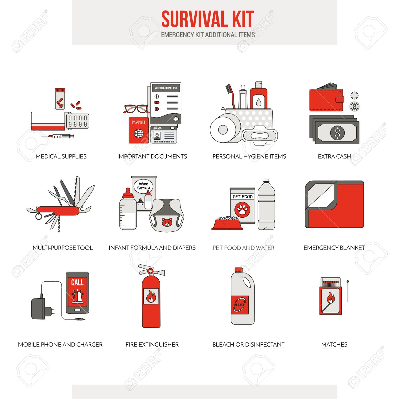 Survival Emergency Kit For Evacuation Vector Objects Set On White Background Illustration