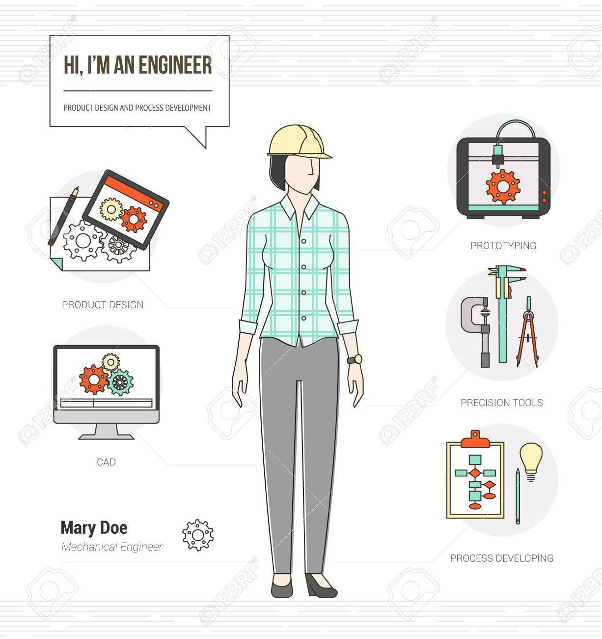 Professional Female Mechanical Engineer Infographic Skills Resume