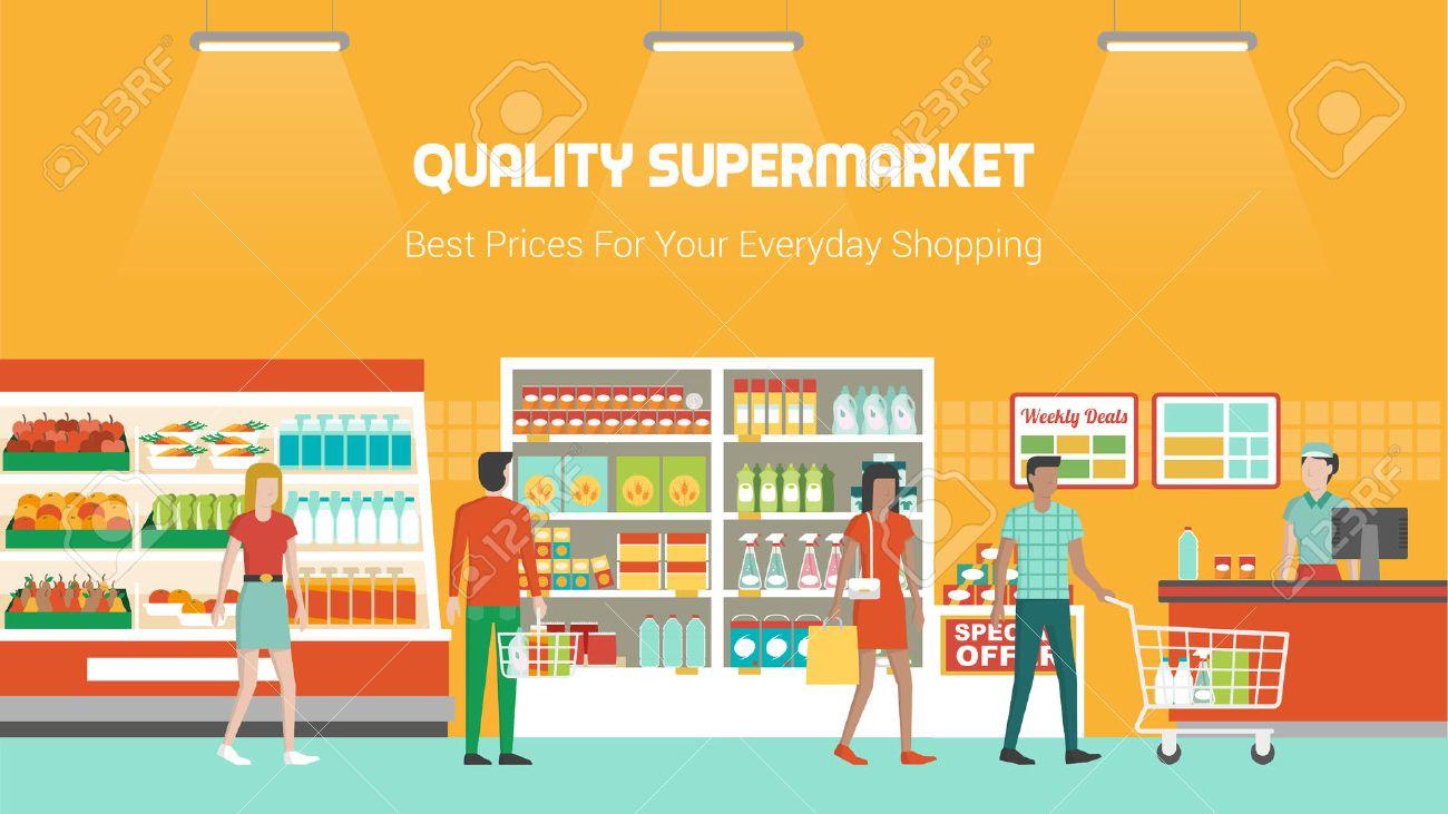 Compras de la gente en el supermercado y compra de productos, congelador, estantes y operador de pago y envío en el trabajo, de comestibles y el concepto de consumo Foto de archivo - 46200065
