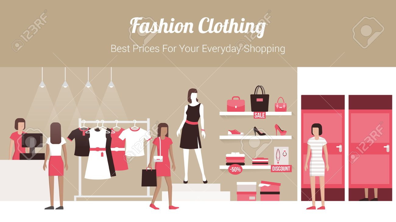 Fashion Clothing Store Banner With Shop Interior Clothing On Royalty Free Cliparts Vectors And Stock Illustration Image 46200067