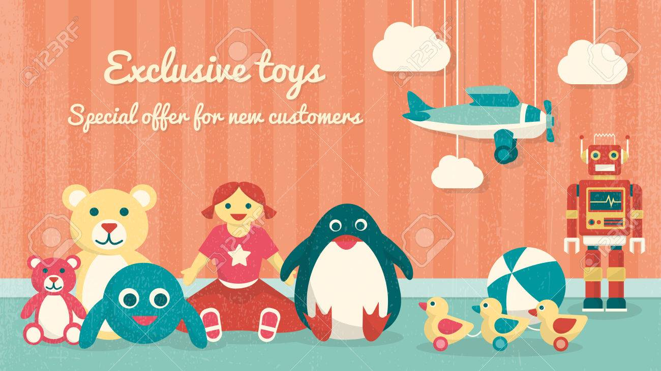 9026b1fa8c93 Cute Vintage Toys On The Floor And Plane Hanging