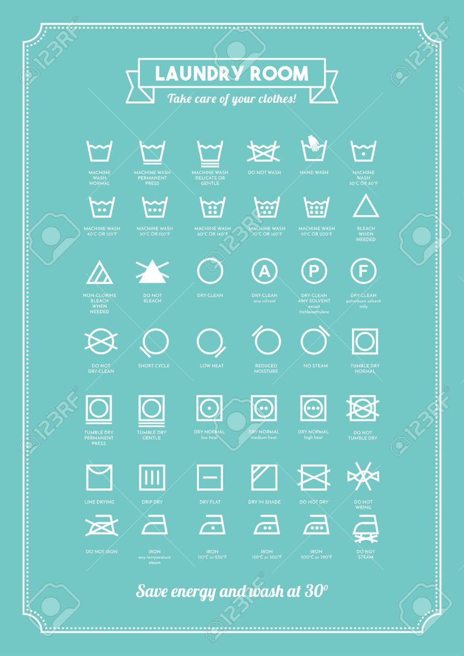 Laundry Symbols Poster Laundry And Washing Clothes Symbols With Texts Poster Royalty Free
